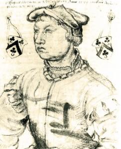 Hermann Weinsberg im Alter von 22 Jahren. Zeichnung von Meister Johann aus der Werkstatt Bartholomäus Bruyn dem Älteren (Zeughaus Köln, gemeinfrei)